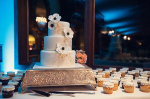 White and Gold Wedding Cake with Cupcakes