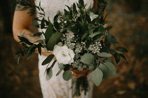 Minimal Bouquet with Greenery, Baby's Breath, Scabiosa and Roses