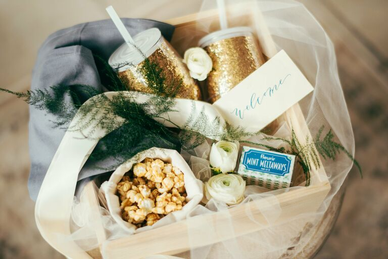 Creative ideas for a wedding welcome basket by Marigold and Grey