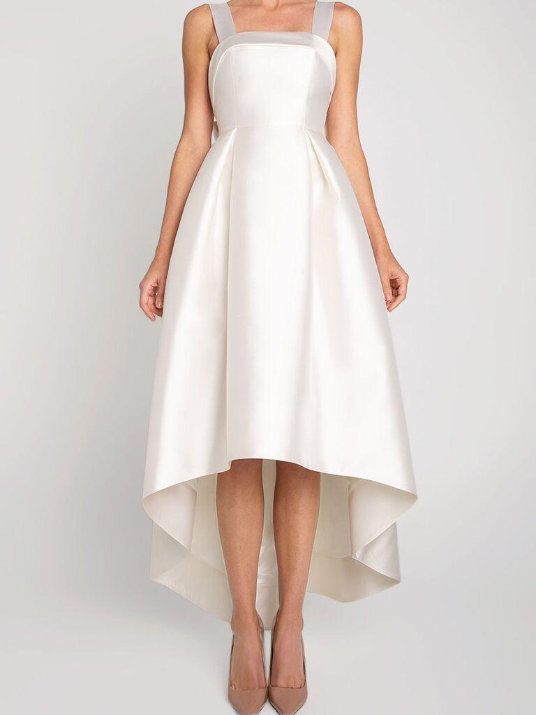 Váy lụa chữ A với dây đai spaghetti dày váy cưới đẹp