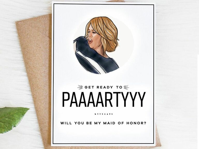 get ready to party bridesmaid proposal card