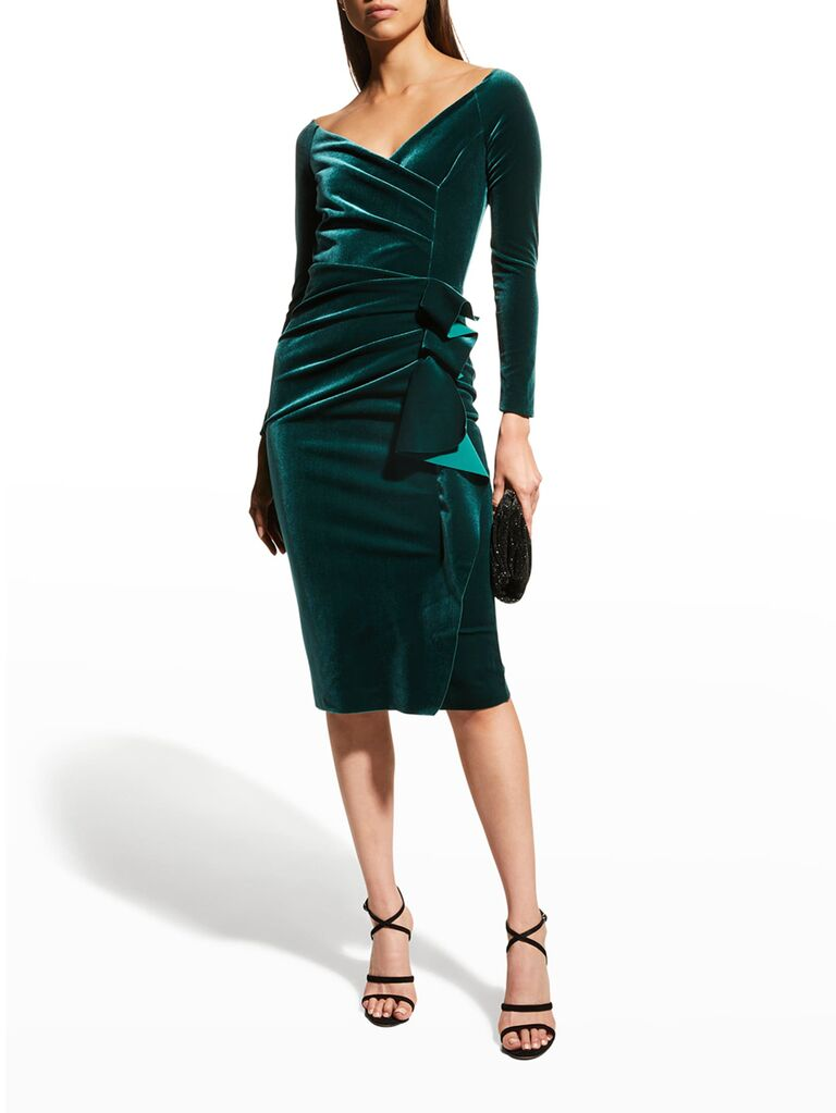 neiman marcus green velvet wedding guest cocktail dress with off the shoulder long sleeves ruffle waist tie and sweetheart neckline