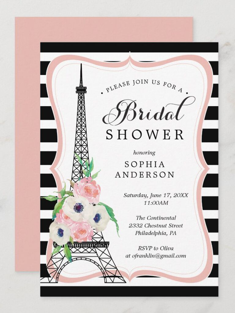 zazzle black and white striped pink paris bridal shower printable invitation with black eiffel tower for paris themed bridal shower