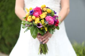 Pink, Purple and Yellow Bouquet With Craspedia and Ranunculus