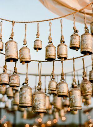 Calligraphed Brass Bells as Escort Card Alternatives