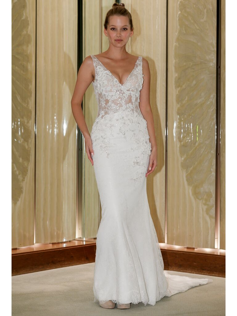 Randy Fenoli Fall 2019 Bridal Collection trumpet wedding dress with beaded v-neck bodice and lace skirt