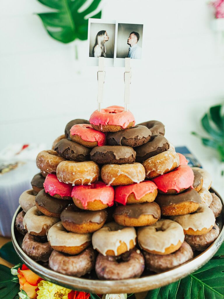 Platter of bridal shower donuts with photos as toppers