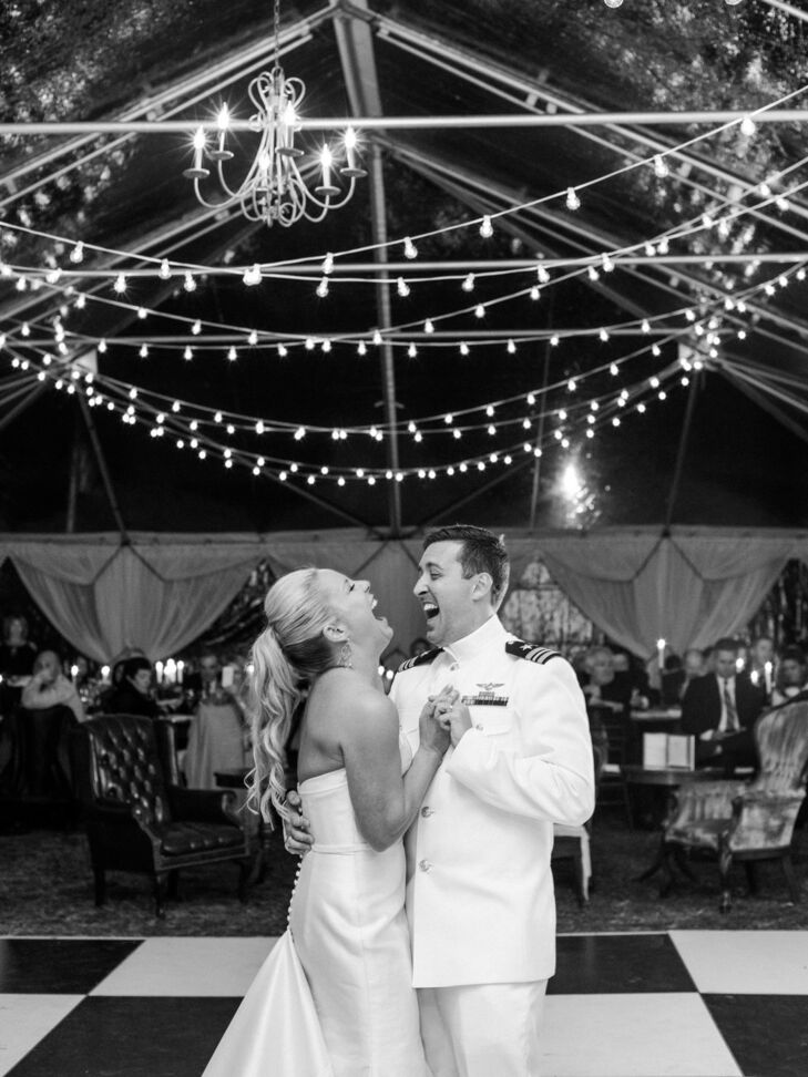 First Dance at Wedding on Black and White Checkered Dance Floor