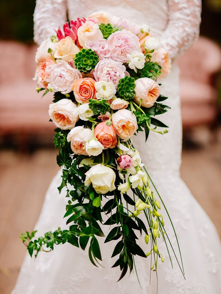 Cascading wedding bouquet idea with roses and ivy