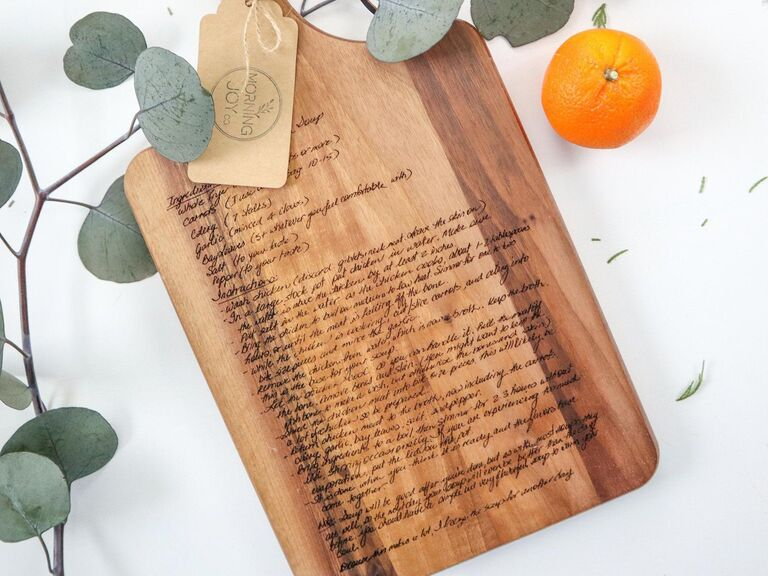 Custom wooden cutting board engraved with recipe in handwriting