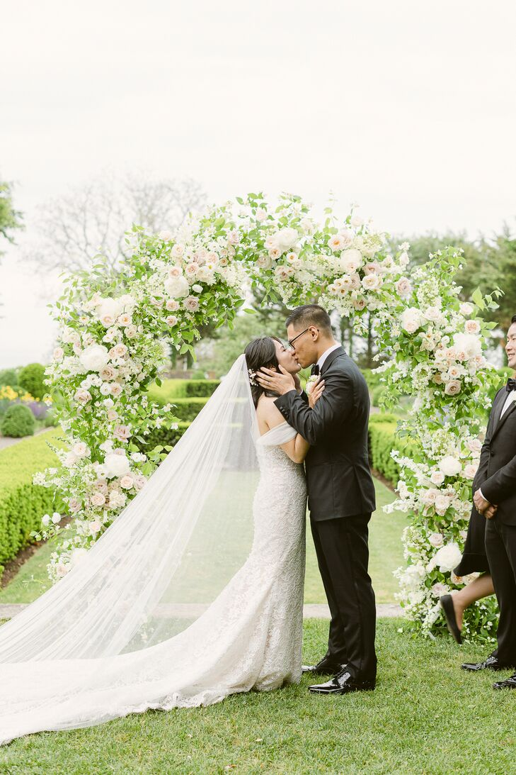 Couple Sharing First Kiss During Ceremony at Eolia Mansion in Waterford, Connecticut