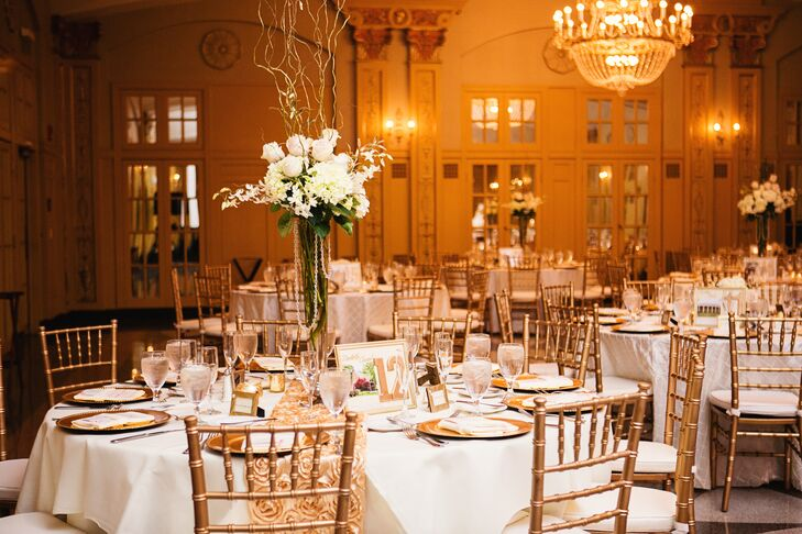 """""""A huge inspiration was the reception hall itself,"""" Christine says. """"I always knew I wanted blush and gold, then when I went to visit the Hilton President Kansas City and saw their ballroom—ornate with gold crown molding and chandeliers, even parts of the walls that had blush colored crown molding—I knew this was the venue and the aesthetic I was going for exponentially came together after that!"""""""