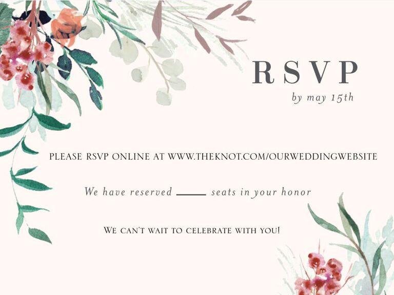 Floral RSVP card asking guests to respond on wedding website