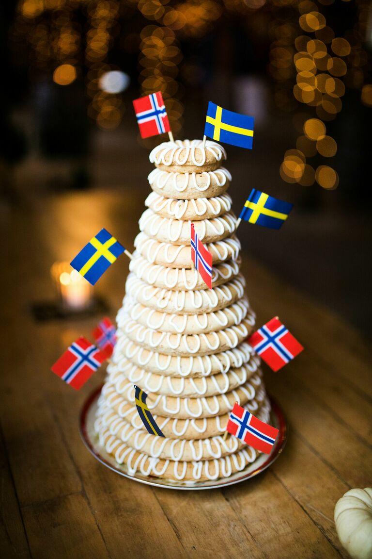 Norwegian Kransekake wedding cake alternative with flags