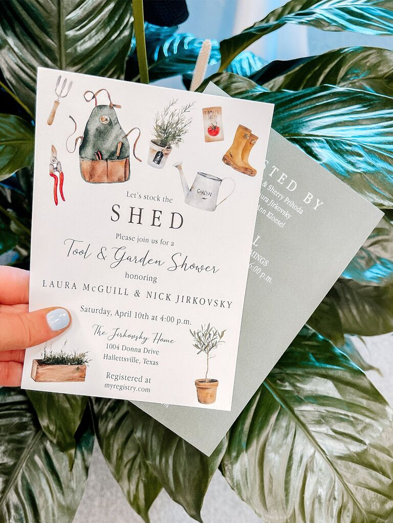 Let's stock the shed text surrounded by gardening icons on white background