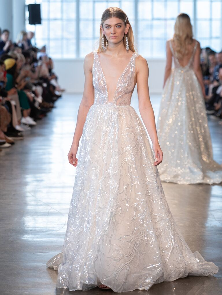 Berta Spring 2020 Bridal Collection plunging A-line wedding dress