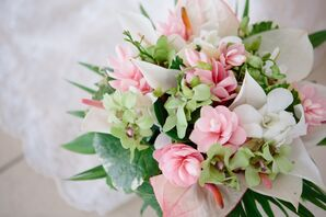 Pink Lisianthus and Green Orchid Bouquet