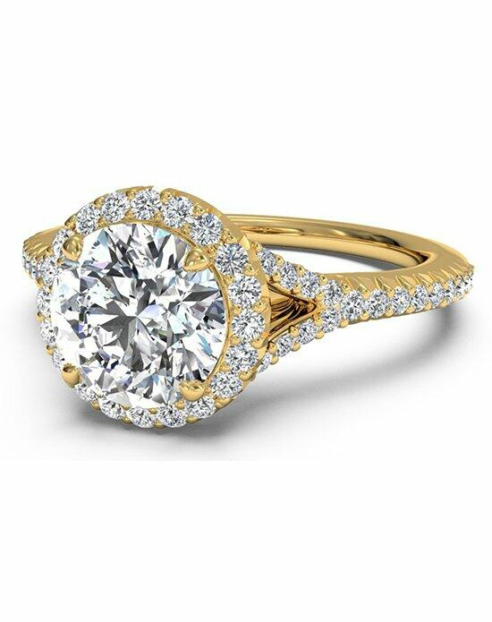 Ritani Round Cut French-Set Halo Diamond 'V' Band Engagement Ring in 18kt Yellow Gold (0.23 CTW) Engagement Ring photo