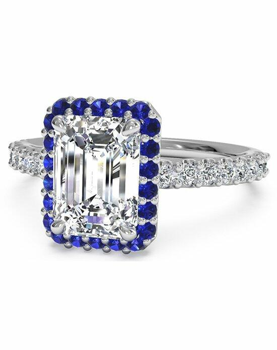 Ritani Emerald Cut French-Set Sapphire Halo Diamond Band Engagement Ring in 14kt White Gold (0.24 CTW) Engagement Ring photo