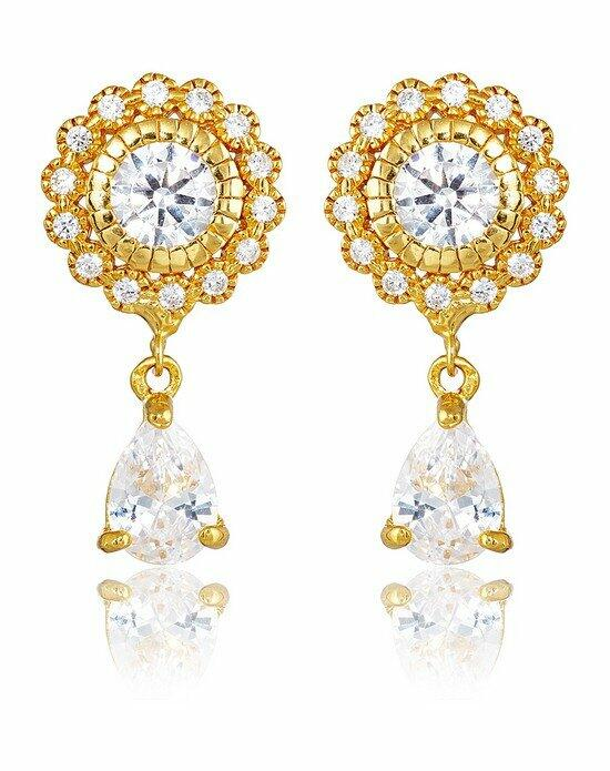 Thomas Laine Ava Petite Teardrop Earrings - Yellow Gold Wedding Earrings photo