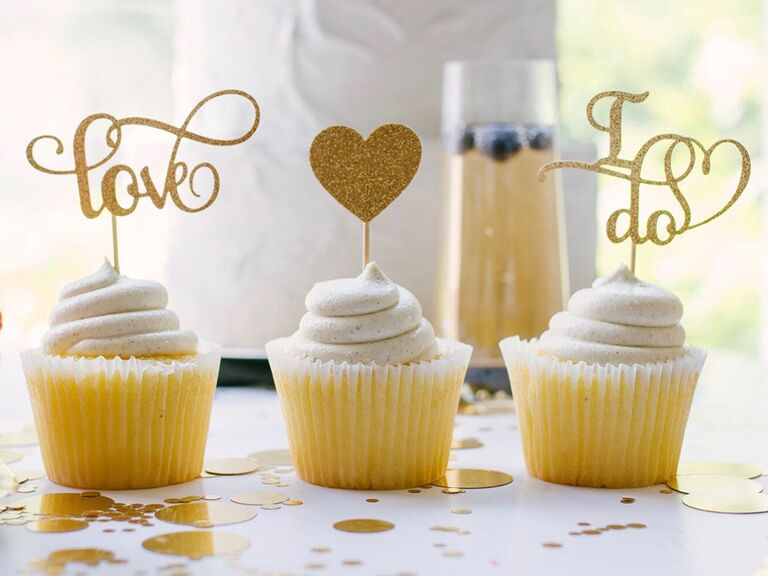 'love' and 'i do' in gold glitter fancy script, gold glitter heart