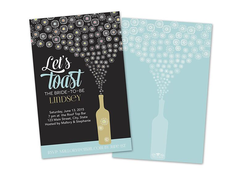 let's toast personalized bachelorette party invitations