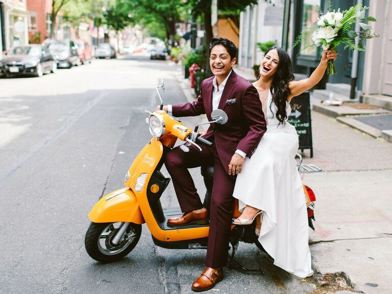 Married couple on moped