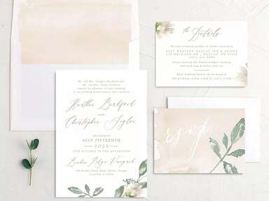 Invitation suite with watercolor neutrals, greenery and elegant calligraphy