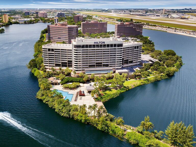 View of the Hilton hotel and surrounding lagoon