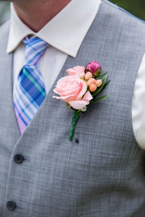 Peony Bud and Pink Rose Boutonnieres