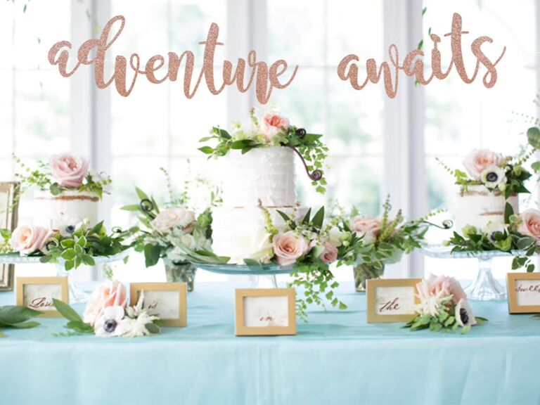 'adventure awaits' rose gold sparkly banner