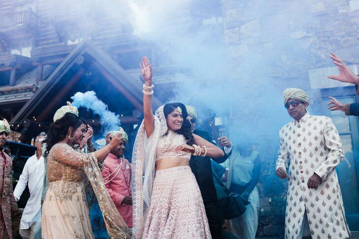 Baraat During Indian Wedding With Blue Smoke Bomb
