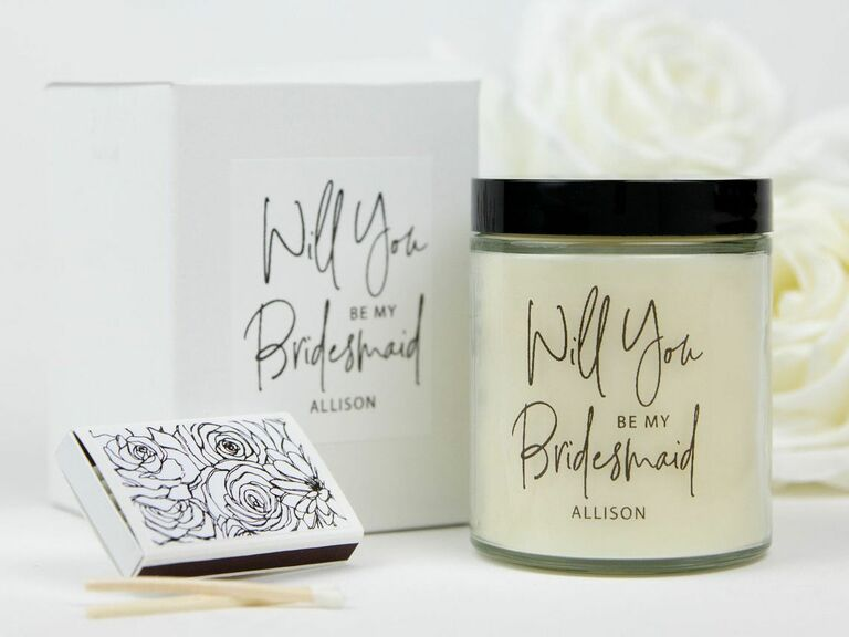 will you be my bridesmaid candle