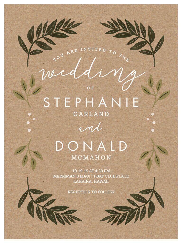 Kraft greenery fall wedding invitation