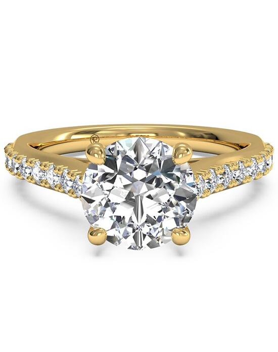 Ritani French-Set Diamond Band Engagement Ring with Surprise Diamonds - in 18kt Yellow Gold (0.24 CTW) for a Round Center Stone Engagement Ring photo