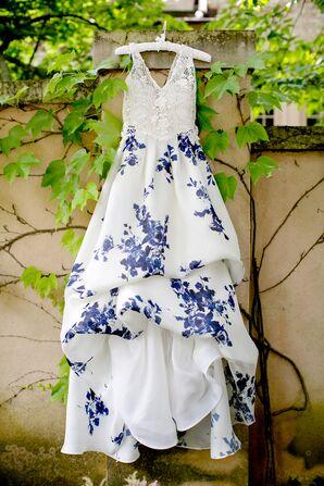 Bride's Wedding Dress With Blue Floral Design