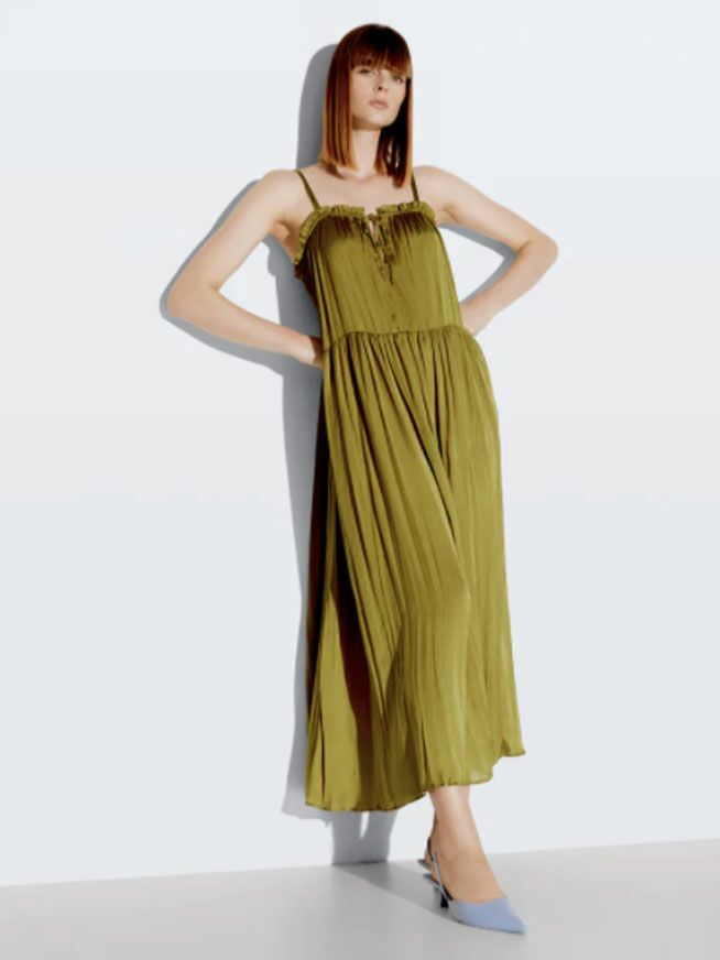 Olive green satin maxi fall wedding guest dress with ruffled neckline