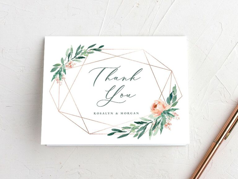 Geometric modern and elegant shower thank-you card