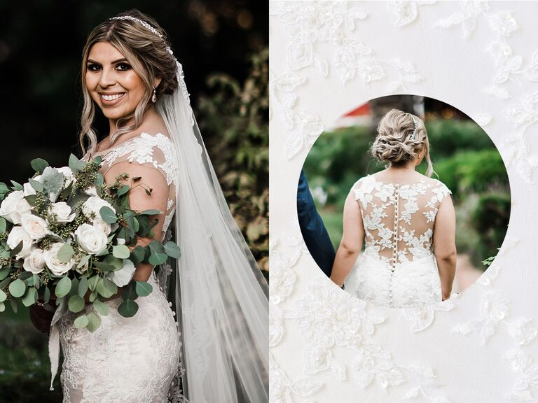 bride posing with bouquet, lace-backed dress