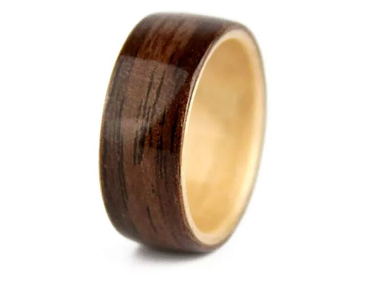 Simply Wood Rings Love Is Now walnut and maple wedding band
