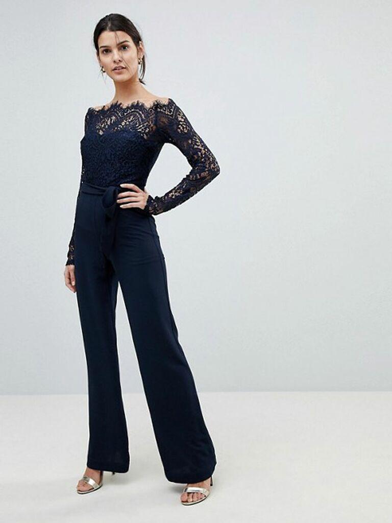 lace top wide leg jumpsuit