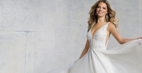 bride smiling in Morilee wedding dress