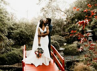 Adrienne Bown (34 and a brand manager) and Jeevan Nanayakkara's (35 and a project manager) wedding combined their respective Jamaican and Sri Lankan c