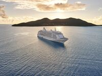Cruise ship sailing in front of island