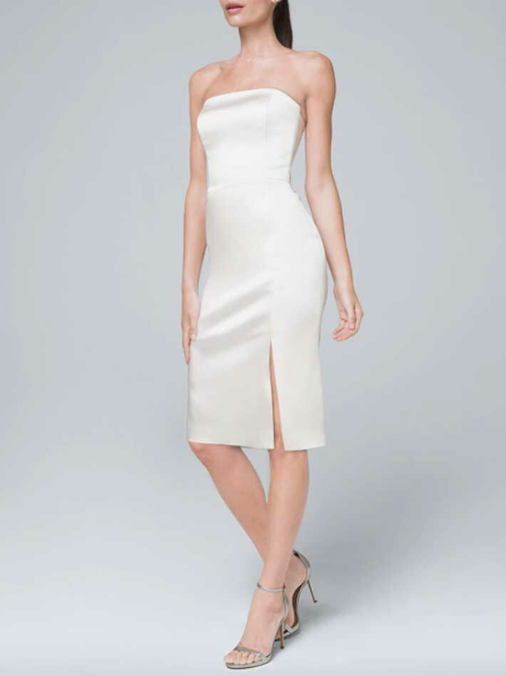 Short simple strapless sheath wedding dress