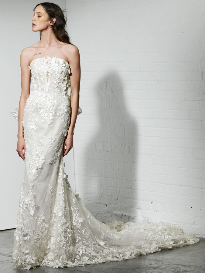Rivini strapless fit-and-flare wedding dress with 3D lace