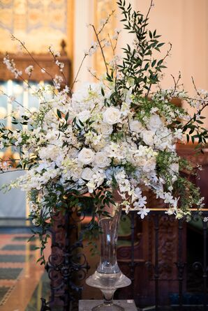 Luxe White Floral Arrangement in Clear Trumpet Vase