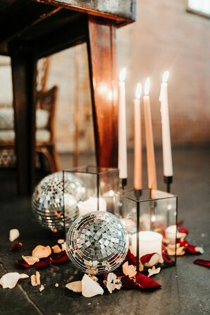 Taper Candles and Disco Ball Décor at Fancy Free Nursery in Tampa, Florida