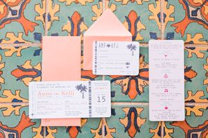 Coral Travel-Themed Invitations