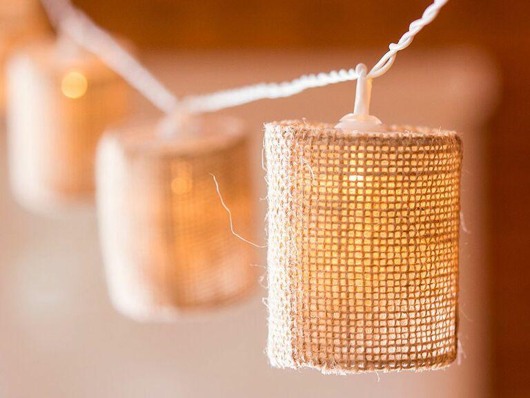 fairy lights with burlap shades